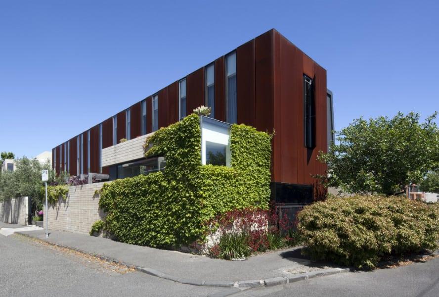 Corten architecture with colourful interiors in Melbourne