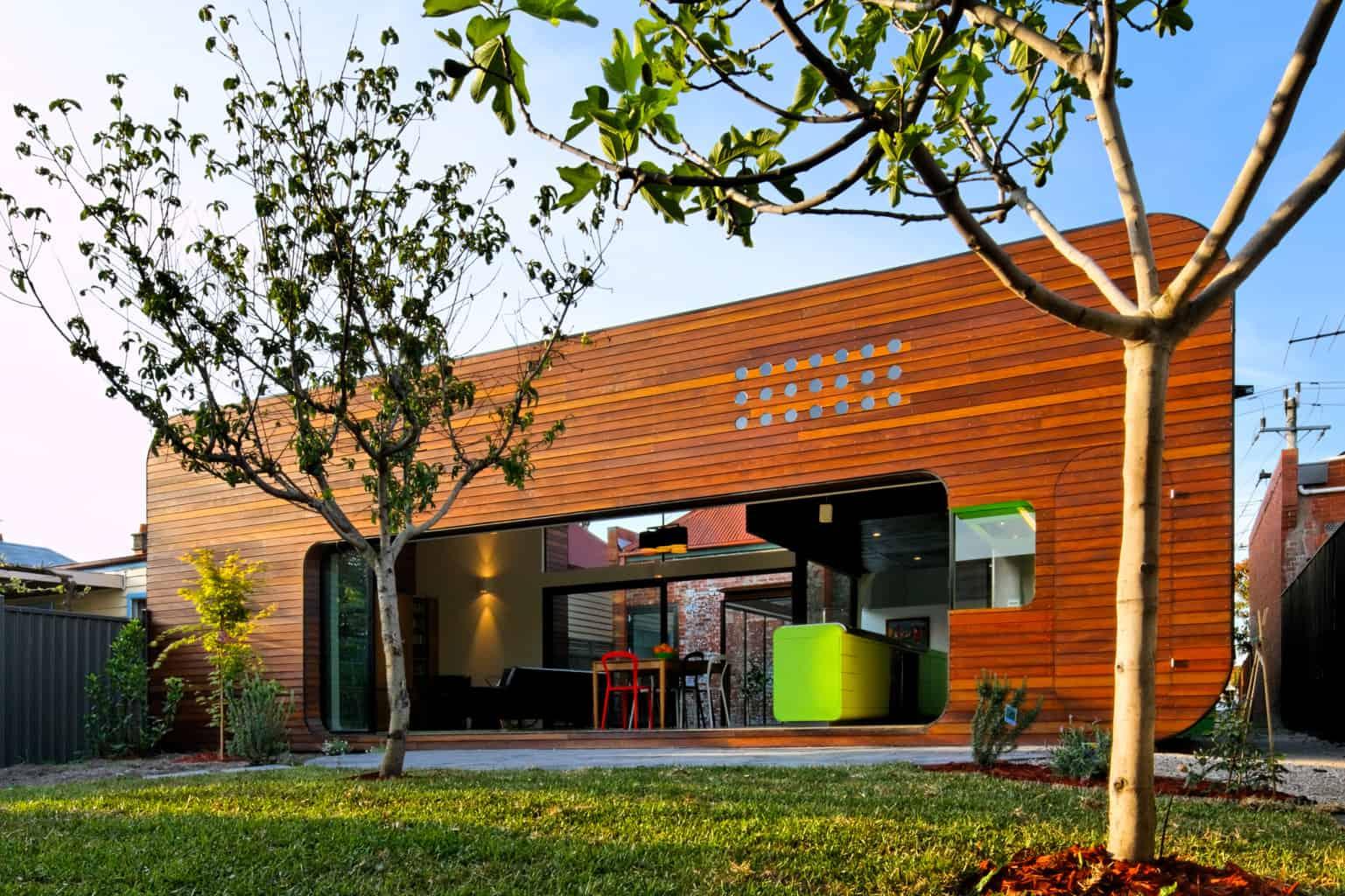A vibrant modern addition to a Victorian era home