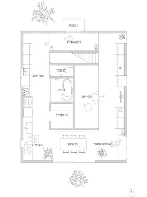 modern japanese house plan ant