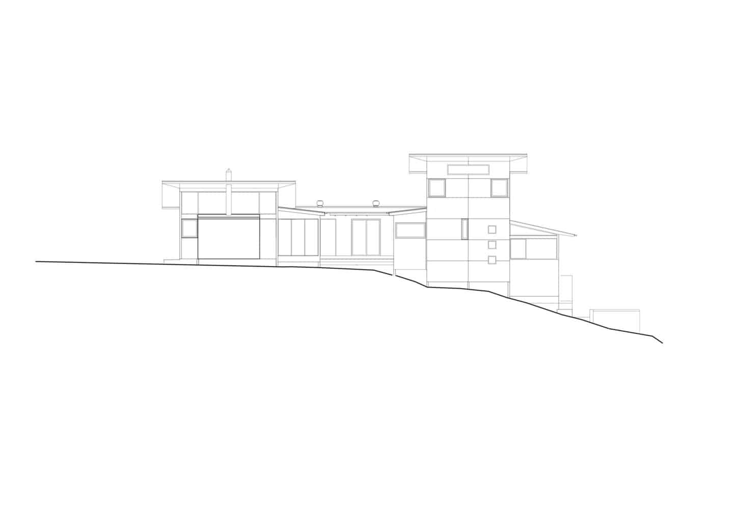 north elevation sketch of bourne blue boomerang beach architecture