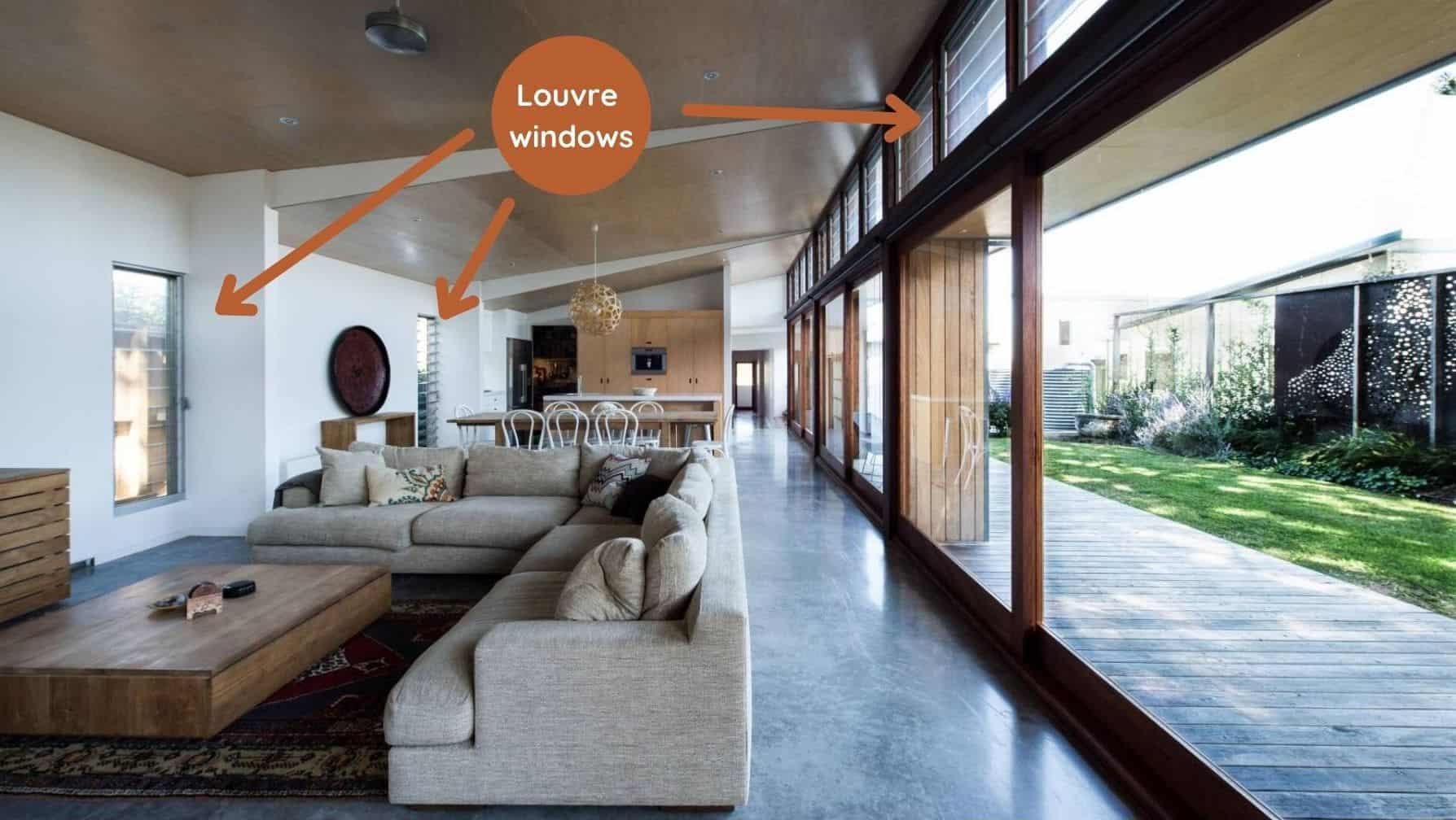 sustainable house cross ventilation louvre windows